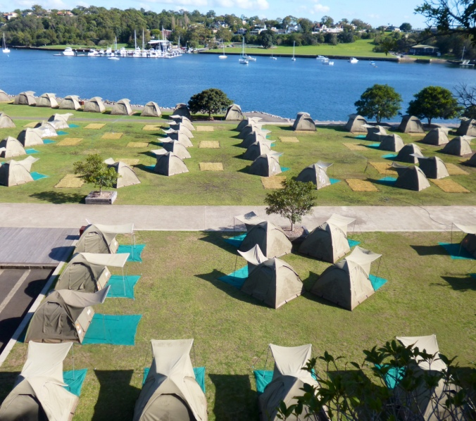 Waterfront camping facilities on Cockatoo Island