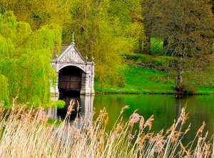 Lake and boat house, Burghley House, UK